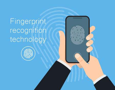 Biometric identification concept. Human hand holds gadget with biometric scanning technology. Unlock mobile phone. Vector illustration Illustration