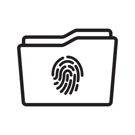 Touch id on Folder Icon. Data protection. Vector illustration