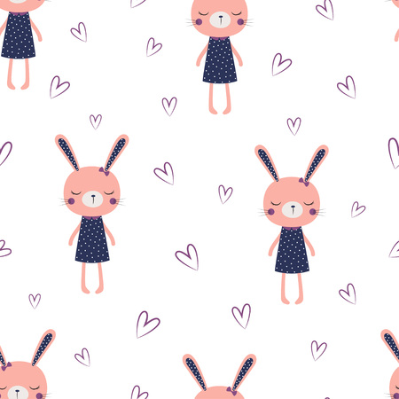 cute bunny girl pattern, sweet rabbit baby in dress, hearts, hare fashion child vector, scandinavian illustration for t-shirt, kids apparel, invitation, children design