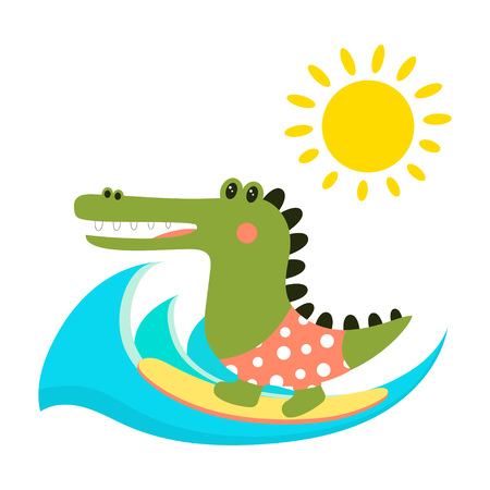 cute cartoon print of crocodile, character aligator isolated on background of waves and sun, funny crocodile in scandinavia style, cute aligator surfer  イラスト・ベクター素材