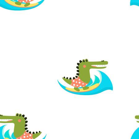 cute cartoon pattern of crocodile, character aligator isolated on background of waves and sun, funny crocodile in scandinavia style, cute aligator surfer