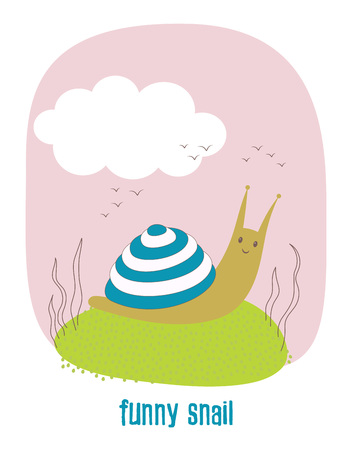 Cute cartoon illustration of snail, character snail isolated, funny snail in Scandinavia style