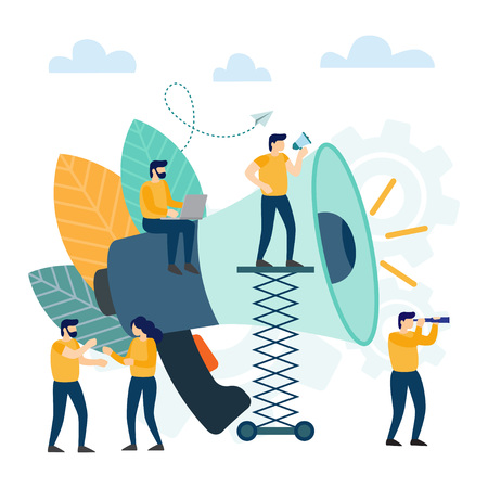 Small people with megaphone. Business promotion, advertising, call through the horn, online alerting. Vector illustration