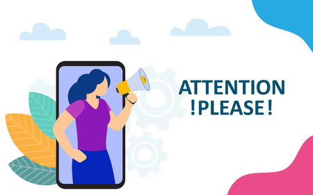 Attention please announcement. Woman shout in megaphone out of a smartphone. Vector illustration