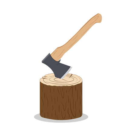 Axe stuck in the stump. Metal ax with handle made of wood. Vector illustration. Isolated on white background Ilustração