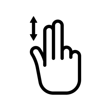 Scroll down icon. Two finger vertical scroll, gesture and hand. vector illustration isolated on white background