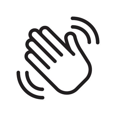 Ikona dłoni macha. Pozdrowienie znak. Witam symbol. Ilustracja wektorowa gest Ilustracje wektorowe
