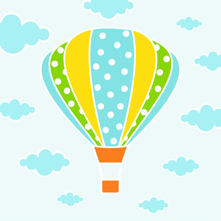 cartoon card with air balloons isolated on blue sky and clouds, childish print for nursery, kids apparel, poster, postcard