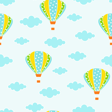 air balloons and clouds hand drawn seamless pattern, colorful background with sky, decorative wallpaper, good for printing