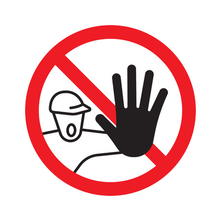Restricted area. No access for unauthorized persons prohibition sign. Vector Illustration, isolate on white background.