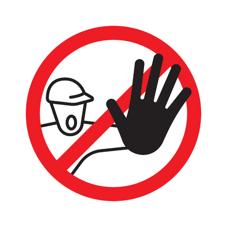 No access for unauthorized persons prohibition sign. Restricted area. Vector Illustration