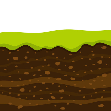 Layers of grass with Underground layers of earth, cut of soil profile with a grass, layers of the earth, clay and stones Illustration