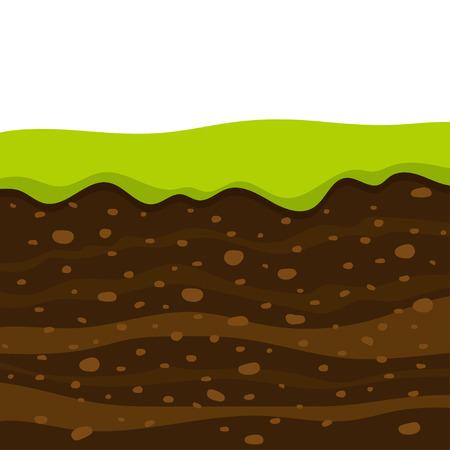 Strati di erba con strati sotterranei di terra, taglio del profilo del suolo con erba, strati di terra, argilla e pietre