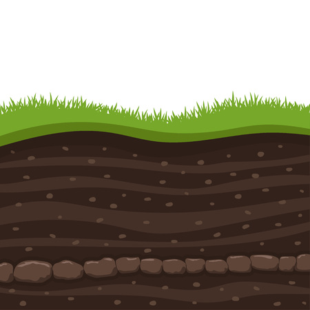 Layers of grass with Underground layers of earth, cut of soil profile with a grass, layers of the earth, clay and stones  イラスト・ベクター素材