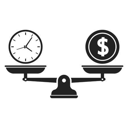 Time and money on scales icon. Time is Money. Money and time balance on scale. Vector illustration