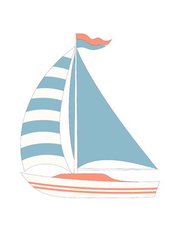 carta con barca cartone animato isolata su bianco, semplice stampa marina in stile scandinavo Vettoriali