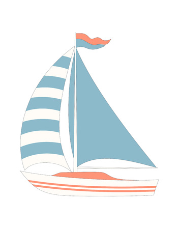 card with cartoon boat isolated on white, simple marine print in scandinavian style