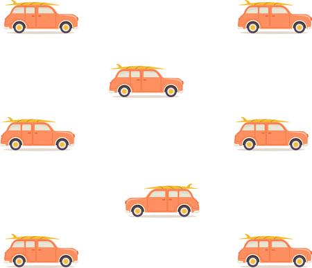 Muster mit Retro-Auto und Surfbrett auf dem Dach isoliert auf weiß, Tapete mit Reisedesign