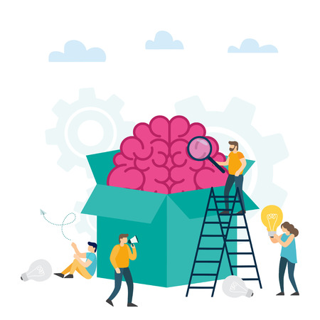 Creative idea, think outside the box, content development, brainstorming, creativity, project and research, creative soutions. Vector Illustration