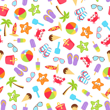 summer stuff pattern isolated on white background, travel vacation elements like ball, bucket, shovel, sunglasses, flip flops, ice cream, crab, starfish, surfboard and palm for any desing