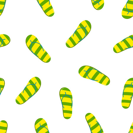 Seamless pattern with green yellow striped flip flops, wallpaper with beach sandals for design fabric, backgrounds, package, wrapping paper, covers, fashion