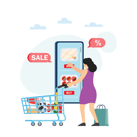 Online shopping concept banner. Mobile app on a smartphone and purchased goods in a virtual store. Vector illustration Vector Illustration