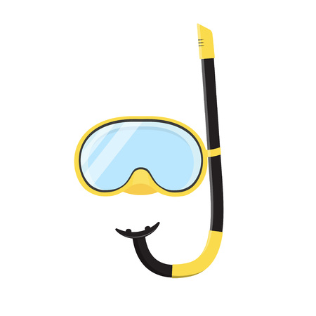 scuba mask and snorkel isolated on white background, vector illustration in flat style