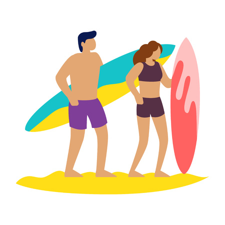 Friends surfers with surfboard talking on the beach. Vector illustration
