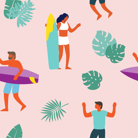 Surfers on surfboards in sea waves seamless pattern. Young people surfing. Vector illustration