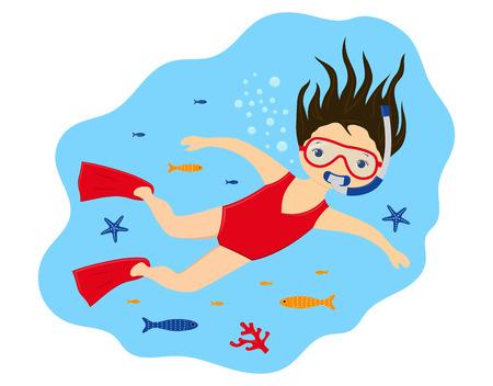 Mädchen in Maske und Schnorchel, das unter Wasser schwimmt, Druck mit süßem Mädchen, das unter Wasser auf Meeresbewohner schnorchelt, Illustration für jedes Design