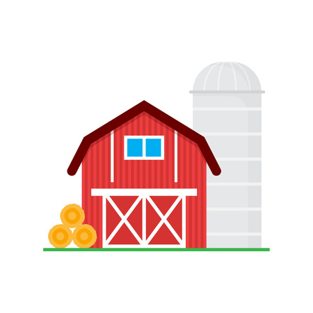 Red barn for grain storage and harvest, silo storage and haystack. Wooden agricultural building. Horse barns. Vector illustration