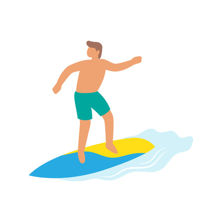 Surfer girl ride a surfboard, surfing on wave. Aloha poster with surfer on surfboard. Vector illustartion Illustration