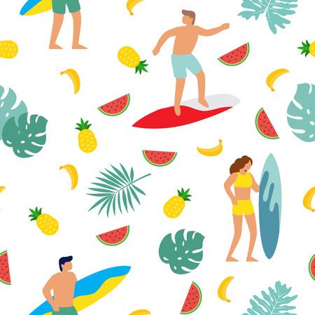 Summer beach seamless pattern. People having fun on the beach, surf. Vector illustration