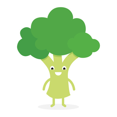 Broccoli, Cute vegetable character. Vector illustration isolated on white background.