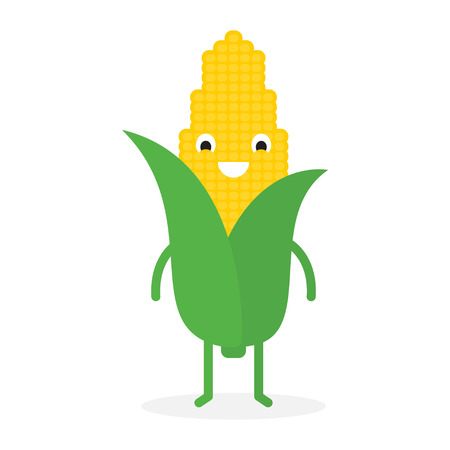 Corn, Cute vegetable character. Vector illustration isolated on white background.