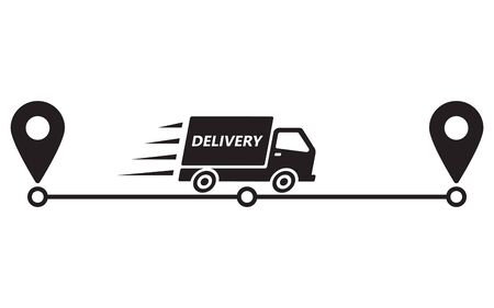 Delivery route icon. Service delivery. Truck and pointers on way. Vector illustration, isolate on white background.