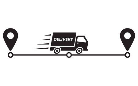 Icono de ruta de entrega. Entrega de servicios. Camión y punteros en camino. Ilustración de vector, aislar sobre fondo blanco.