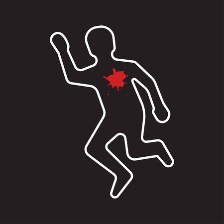 Crime scene. Silhouette of the dead man painted on the ground. Vector illustration Çizim