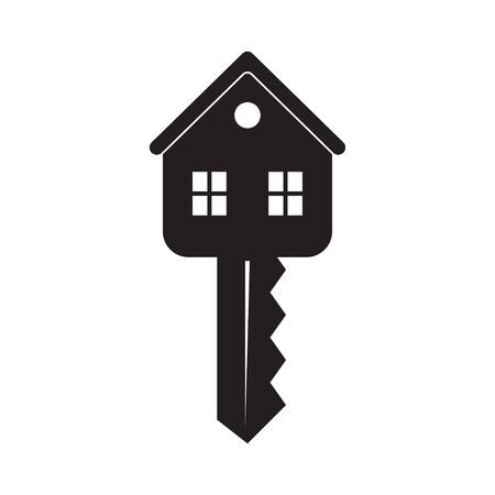 House keys with keychain. Real estate Icon. Vector illustration, isolated on white background Illustration