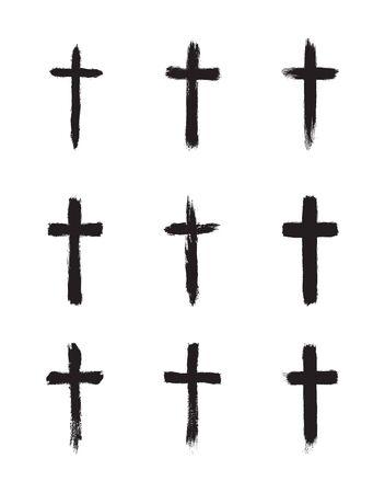 Colección de cruz cristiana simple grunge negro. Ilustración de vector, aislado sobre fondo blanco.