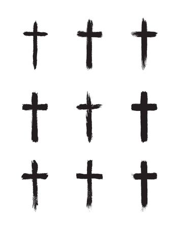 Collection of simple Christian black grunge cross. Vector illustration, isolated on white background