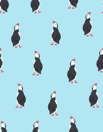 vector seamless pattern with cute puffins, repeated texture with icelandic birds, childish print for any desing