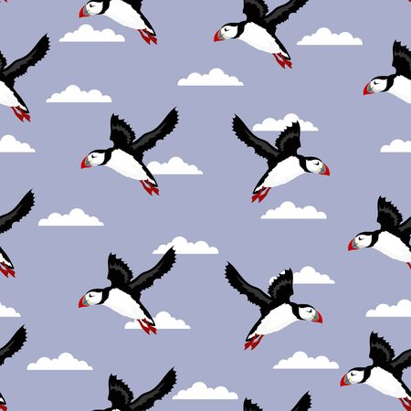 vector seamless pattern with cute puffins on sky and clouds background, repeated texture with Icelandic birds, childish print for any design Banque d'images - 127390917
