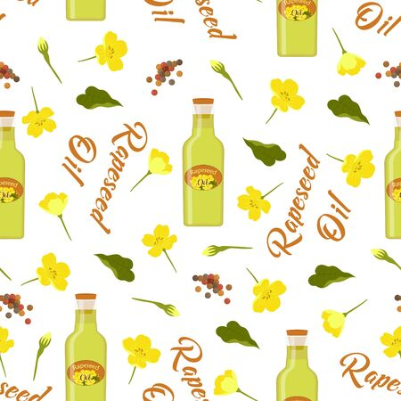 seamless rapeseeds and flowers pattern, canola buds, rapeseed inflorescences, canola oil, white backing, floral background, creative design