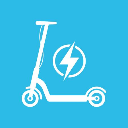 Electric Scooter Icon isolated on blue background. Vector illustration Illustration