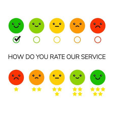 Opinione di feedback sulla valutazione delle emozioni positiva o negativa. Set di faccine colorate con diverse emozioni da arrabbiato a felice. Illustrazione vettoriale Vettoriali