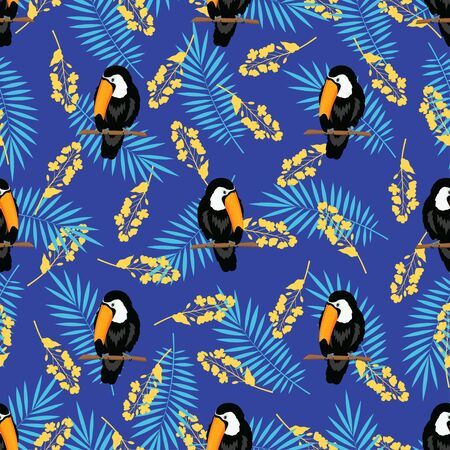 seamless tropical pattern with toucan, exotic leaves and yellow flowers, trendy toucan blue background Illustration