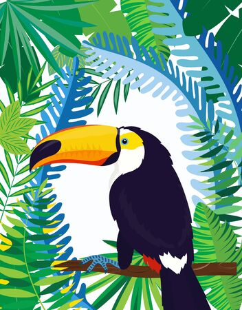 cute toucan on branch with leaves isolated on white background, vector illustration, cartoon colored tropical bird sitting on the branch