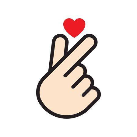 Signe d'amour coréen. Main pliée en un symbole de coeur. Illustration vectorielle