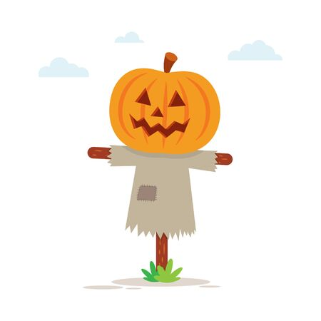 Halloween scarecrow with a Jack O Lantern head. Vector illustration Imagens - 130029538